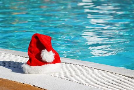 santa, swimming pool, christmas,