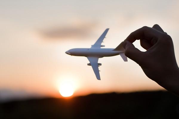 plane, sunset, flight,