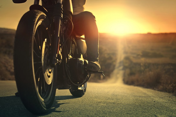 motorcycle, sunset