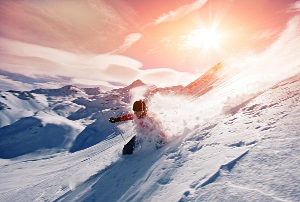 skiing, holiday, destination, sunset