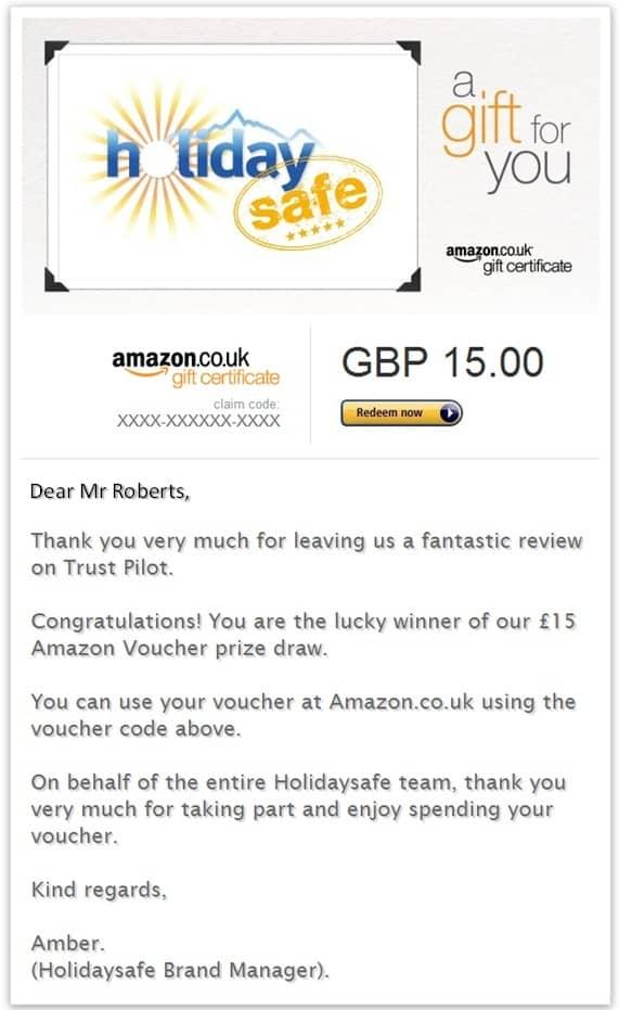 Amazon voucher winner