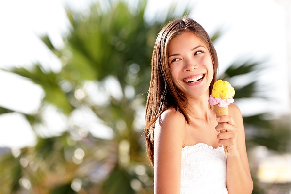 ice cream, cone, woman,