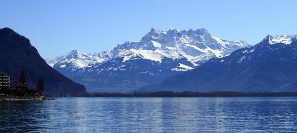 Geneva, lake, snow, mountain