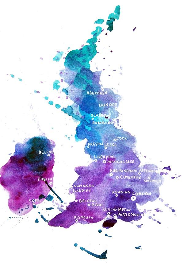 map, England, uk, watercolour