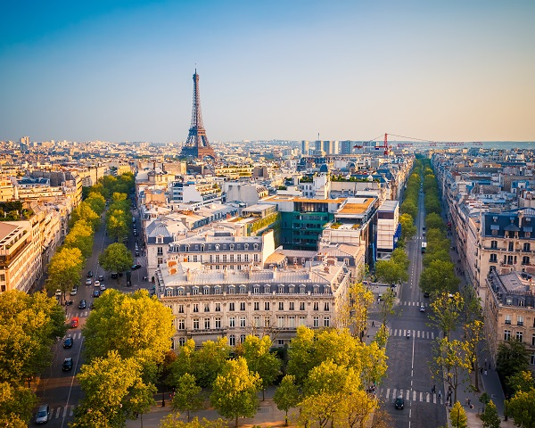 View on Paris at sunset