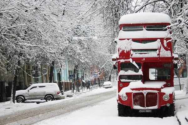 snow, winter, London, UK, winter,