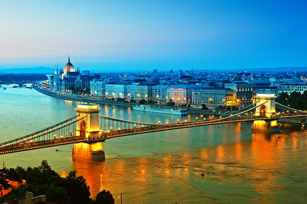 Budapest skyline by night