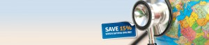 Save 15% on travel insurance when buying online