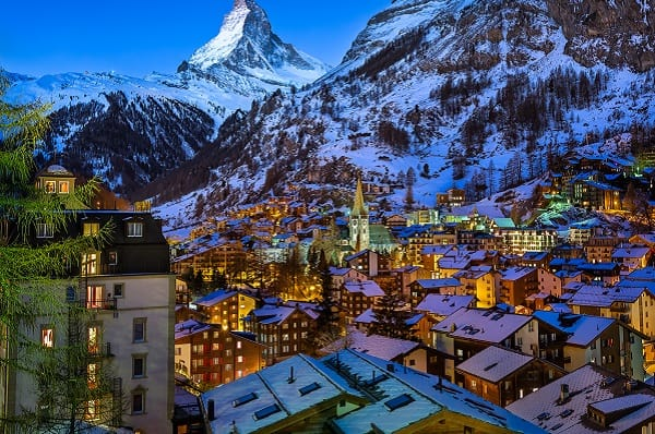 Aerial View on Zermatt Valley