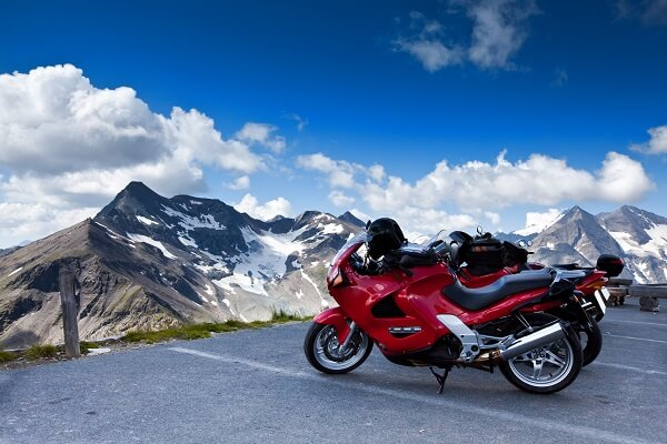 Motorbikes on mountain - High Alpine Road - Grossglockner.