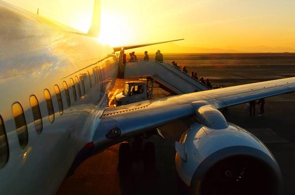 boarding, plane, sunset, people, holiday