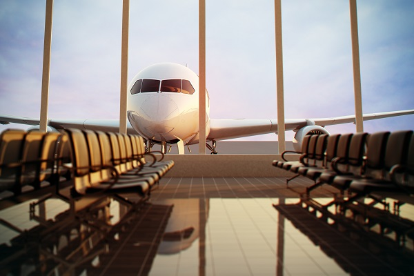 airplane, terminal, gate, lounge, sun, front view, seats