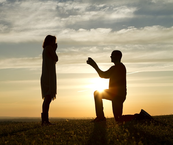 proposal, wedding, silhouette, couple