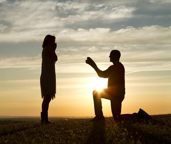 proposal, wedding, silhouette, couple