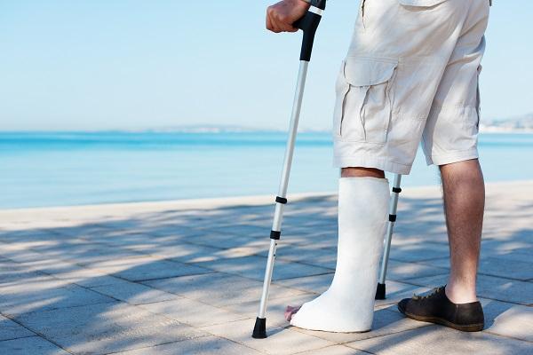 Injured man on holiday