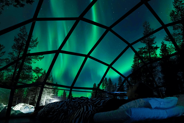 watching the northern lights from an igloo