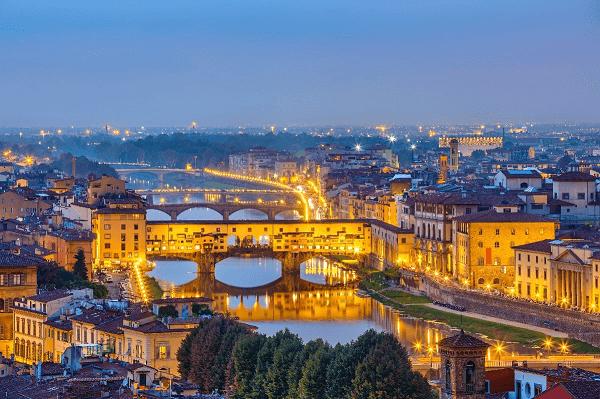 Florence lit up at night