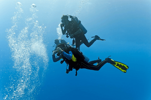 scuba diving in clear water